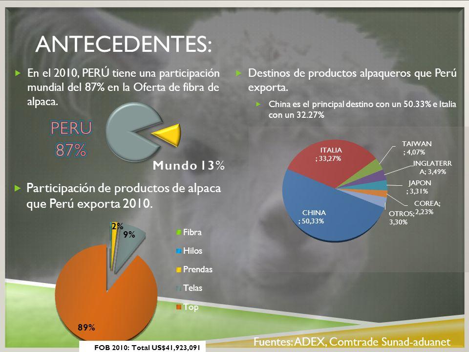 Antecedentes: En el 2010, PERÚ tiene una participación mundial del 87% en la Oferta de fibra de alpaca.