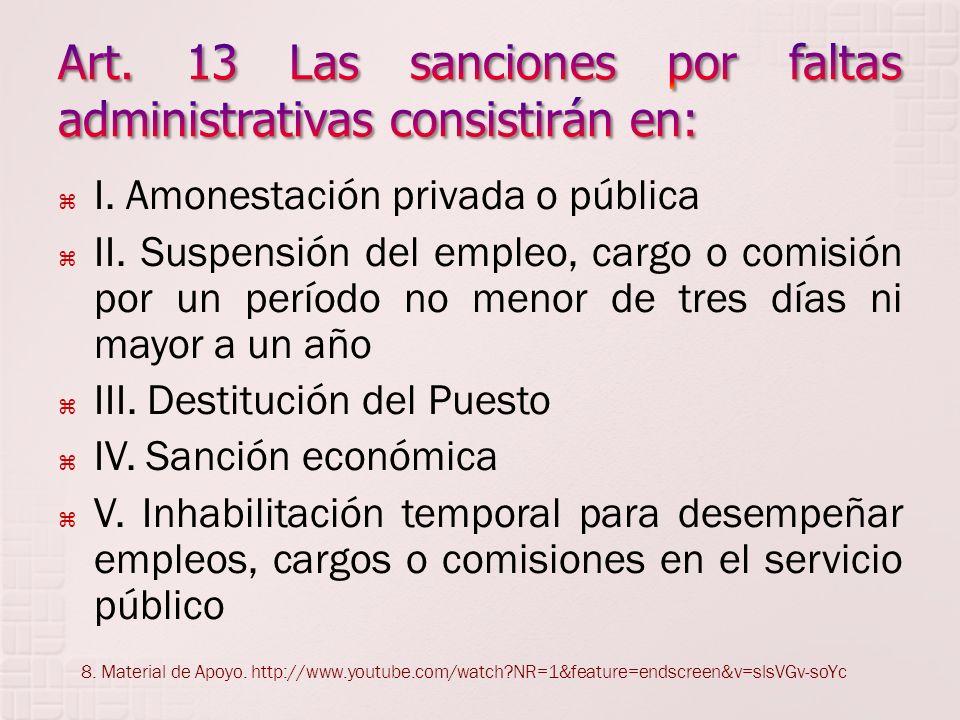 Art. 13 Las sanciones por faltas administrativas consistirán en: