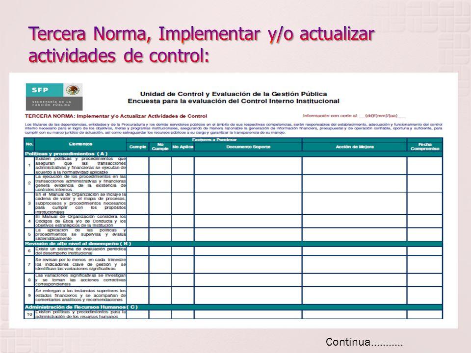 Tercera Norma, Implementar y/o actualizar actividades de control: