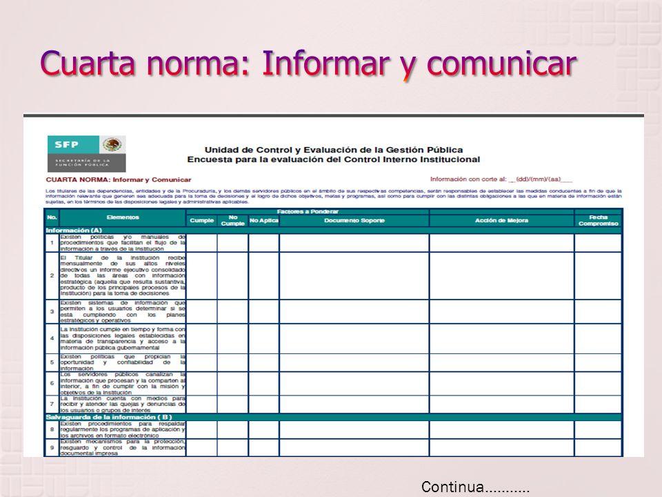 Cuarta norma: Informar y comunicar