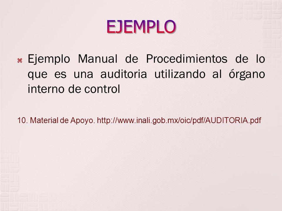 EJEMPLO Ejemplo Manual de Procedimientos de lo que es una auditoria utilizando al órgano interno de control.