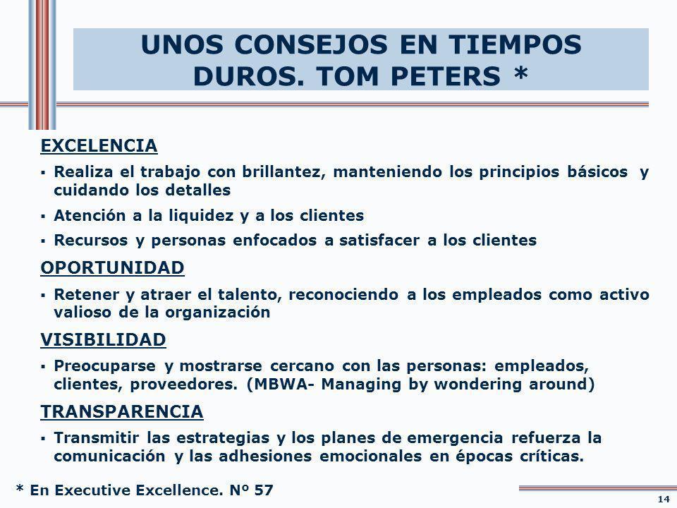 UNOS CONSEJOS EN TIEMPOS DUROS. TOM PETERS *