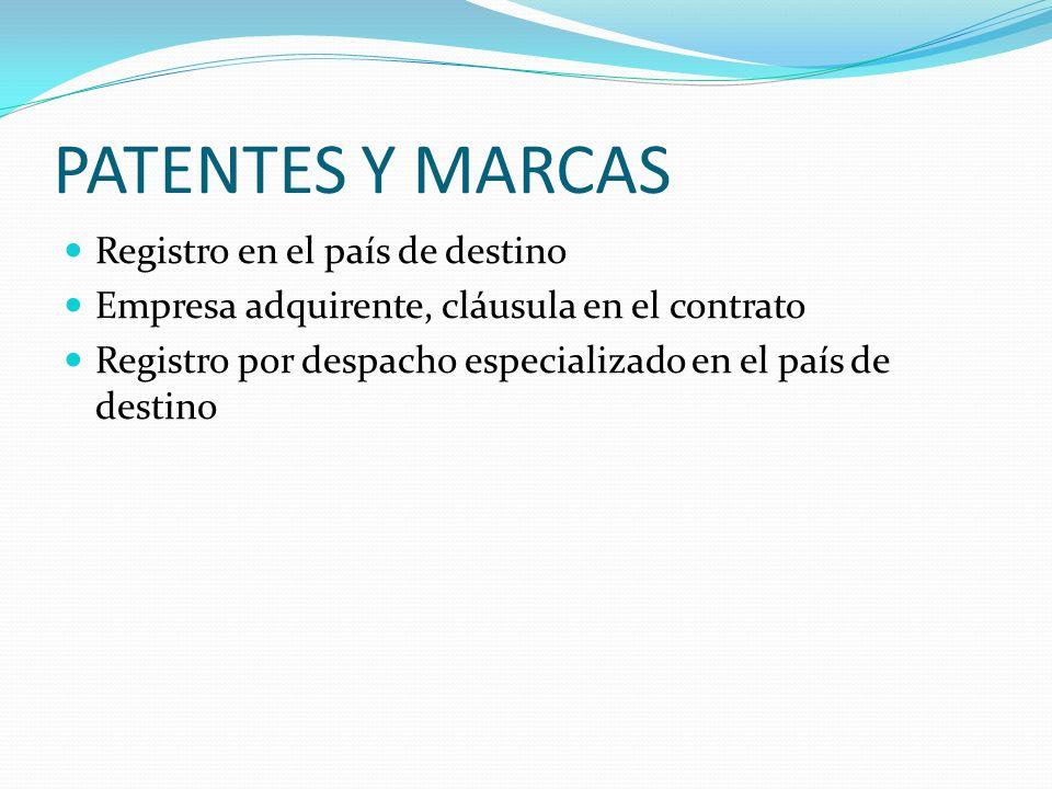 PATENTES Y MARCAS Registro en el país de destino