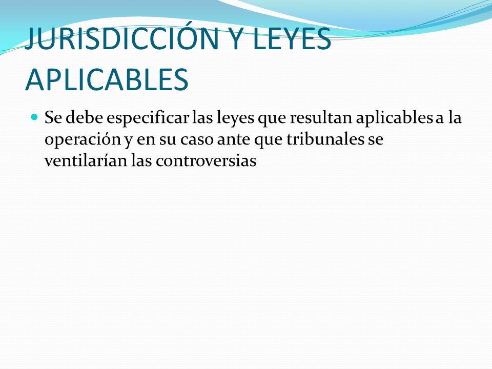 JURISDICCIÓN Y LEYES APLICABLES
