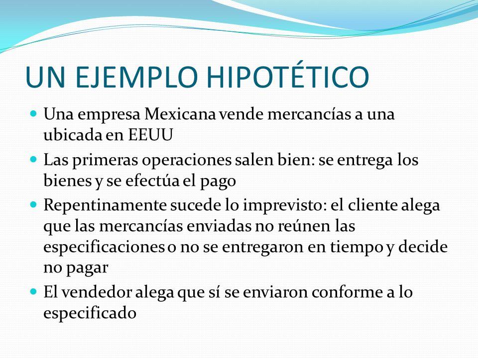 UN EJEMPLO HIPOTÉTICO Una empresa Mexicana vende mercancías a una ubicada en EEUU.