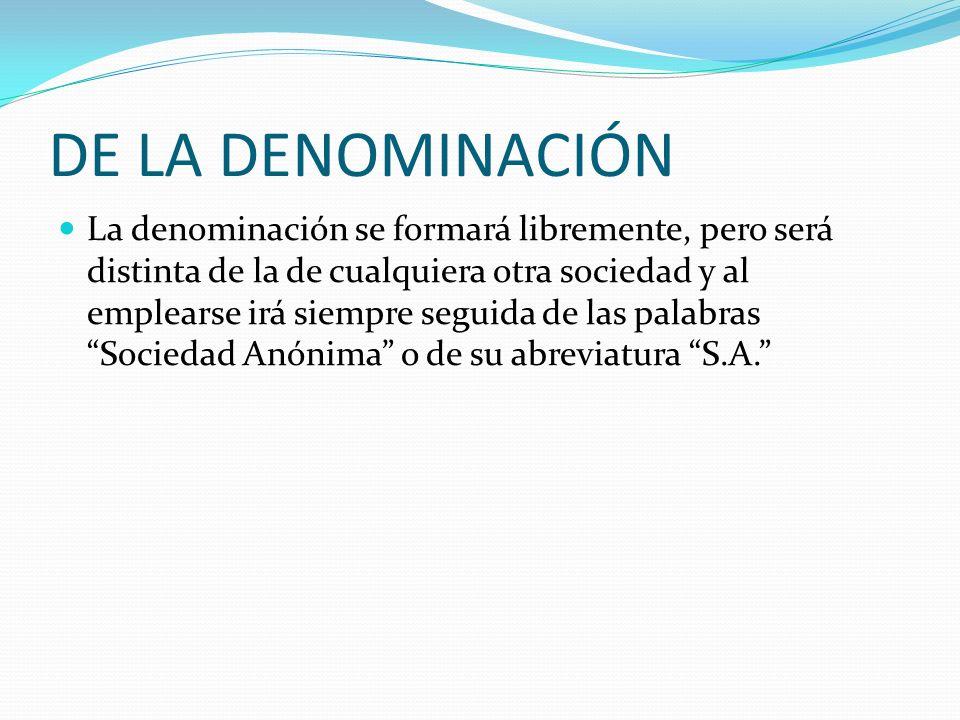 DE LA DENOMINACIÓN