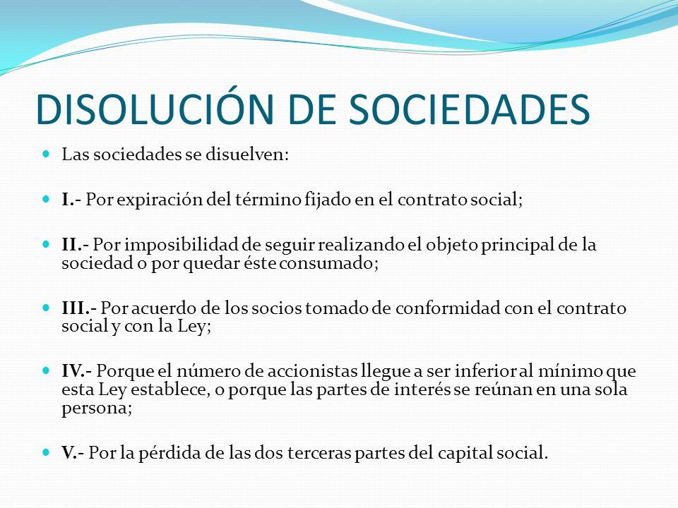 DISOLUCIÓN DE SOCIEDADES