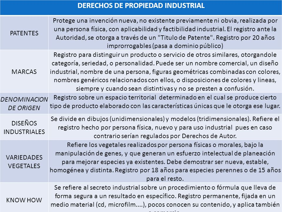 DERECHOS DE PROPIEDAD INDUSTRIAL