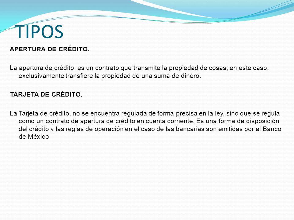 TIPOS APERTURA DE CRÉDITO.