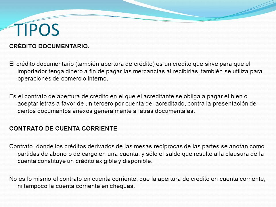 TIPOS CRÉDITO DOCUMENTARIO.