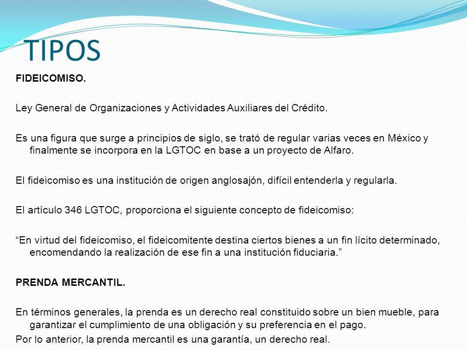 TIPOS FIDEICOMISO. Ley General de Organizaciones y Actividades Auxiliares del Crédito.