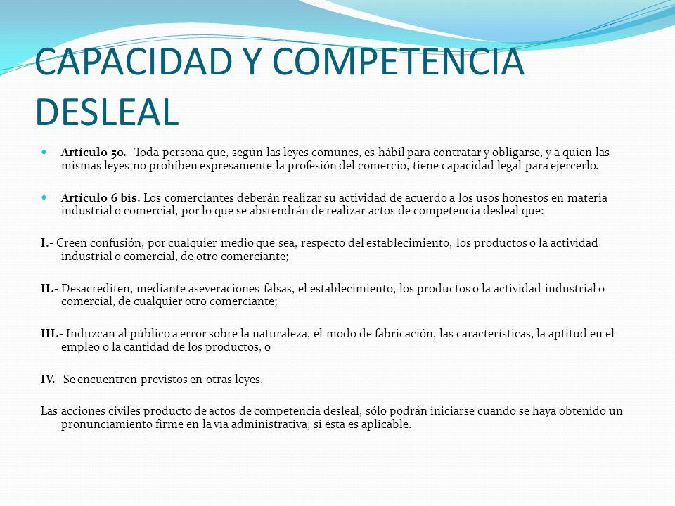 CAPACIDAD Y COMPETENCIA DESLEAL