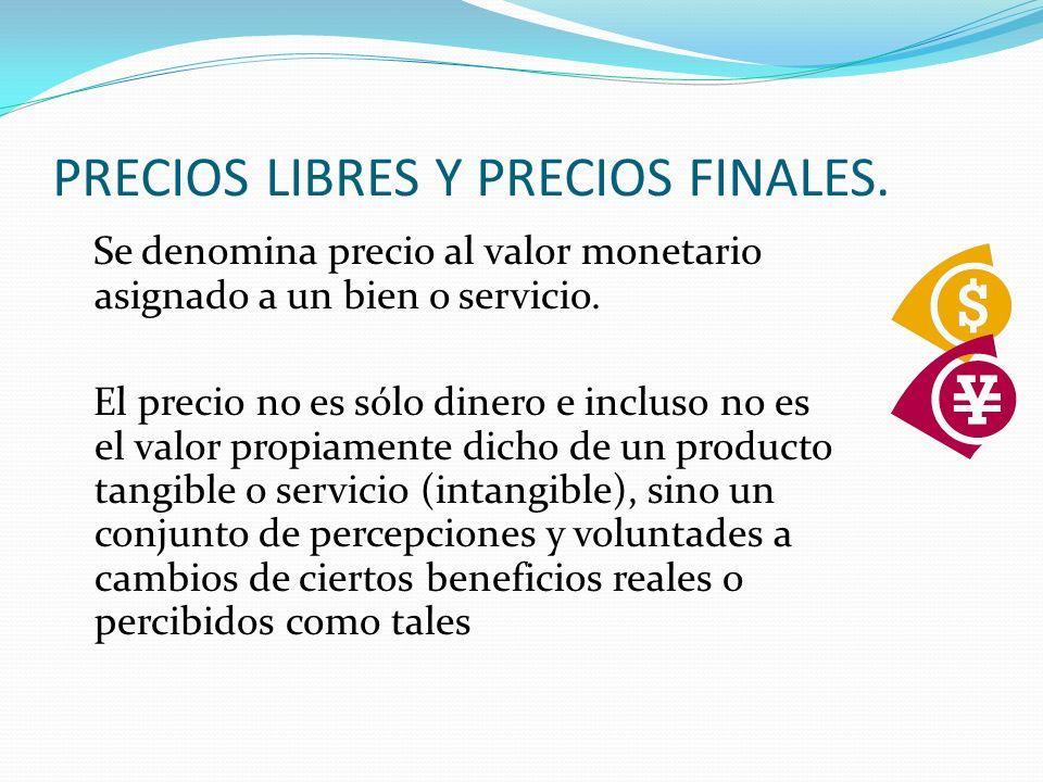 PRECIOS LIBRES Y PRECIOS FINALES.