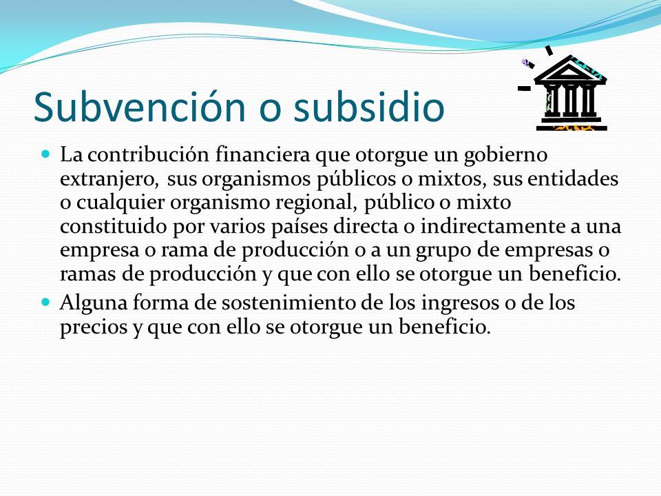 Subvención o subsidio