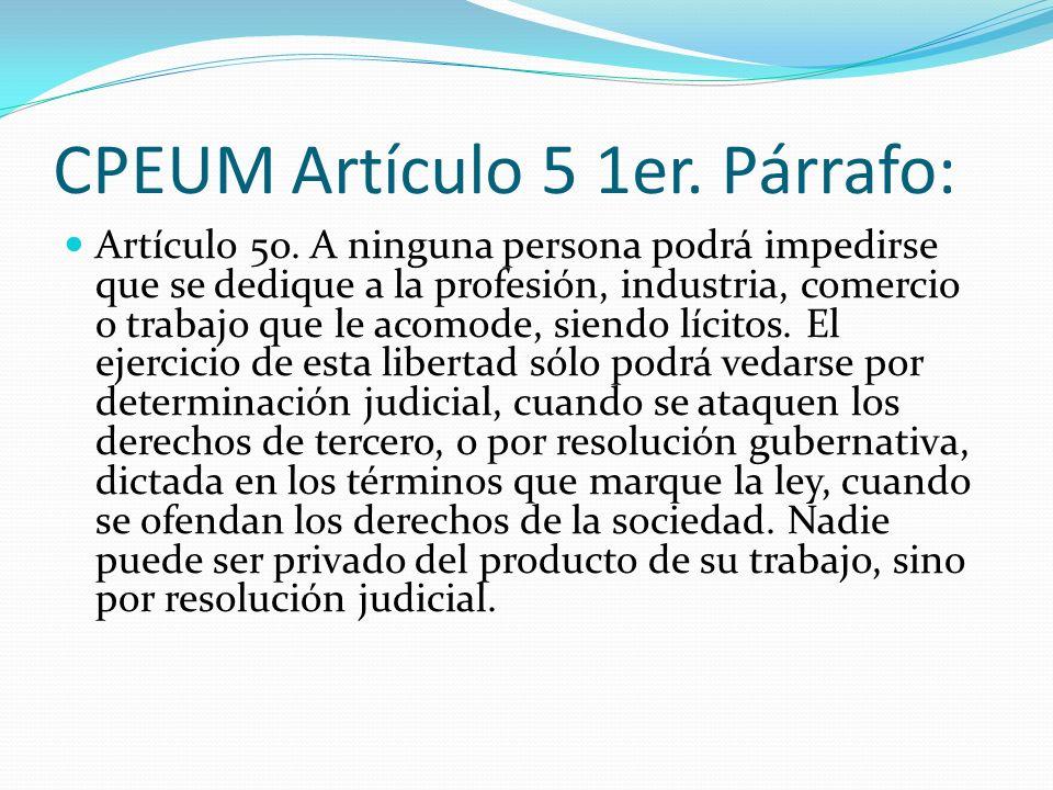 CPEUM Artículo 5 1er. Párrafo: