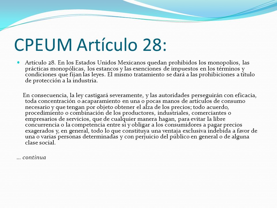 CPEUM Artículo 28: