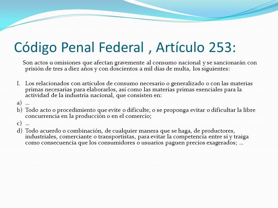 Código Penal Federal , Artículo 253:
