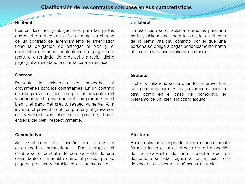 Clasificación de los contratos con base en sus características