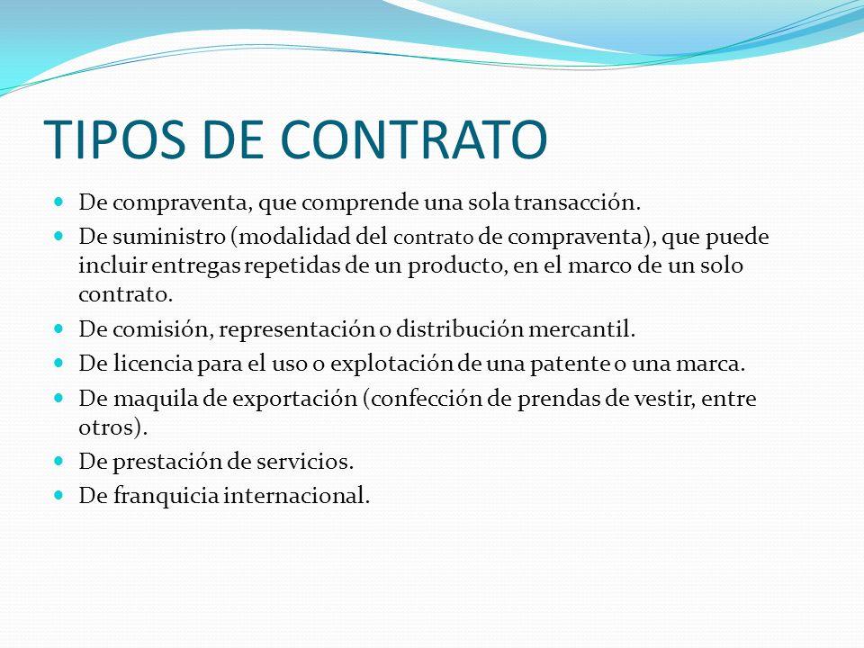 TIPOS DE CONTRATO De compraventa, que comprende una sola transacción.