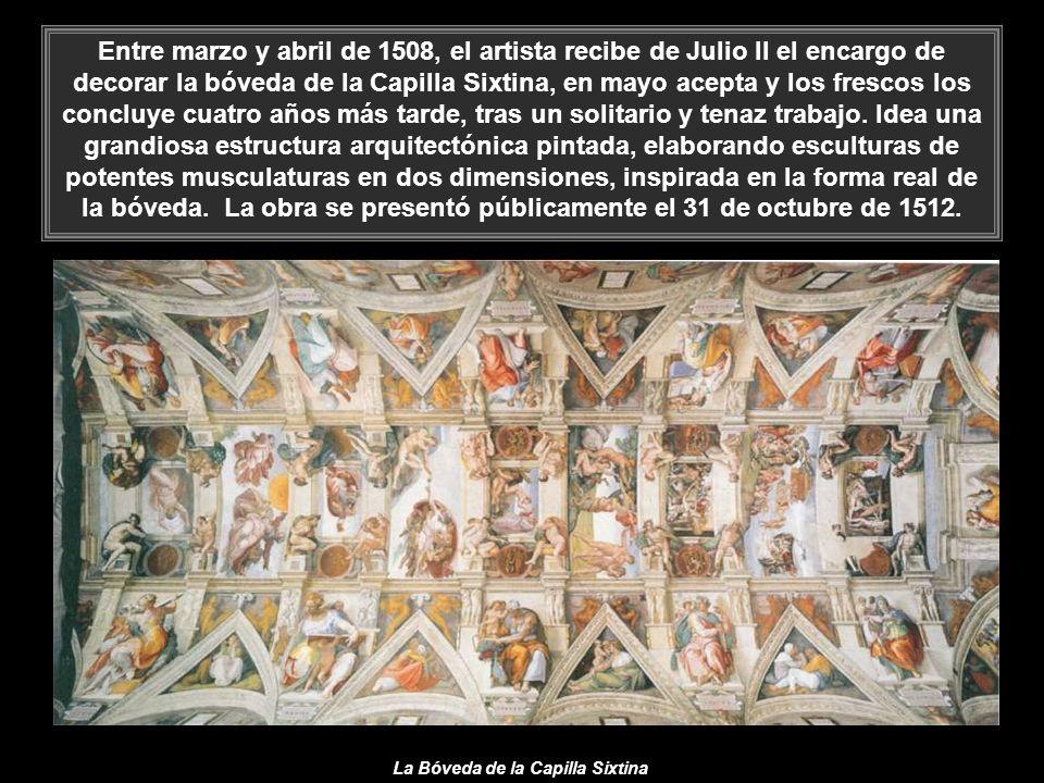 Entre marzo y abril de 1508, el artista recibe de Julio II el encargo de decorar la bóveda de la Capilla Sixtina, en mayo acepta y los frescos los concluye cuatro años más tarde, tras un solitario y tenaz trabajo. Idea una grandiosa estructura arquitectónica pintada, elaborando esculturas de potentes musculaturas en dos dimensiones, inspirada en la forma real de la bóveda. La obra se presentó públicamente el 31 de octubre de 1512.