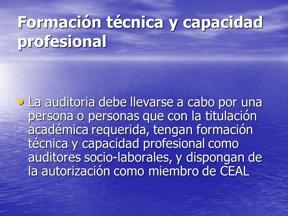 Formación técnica y capacidad profesional