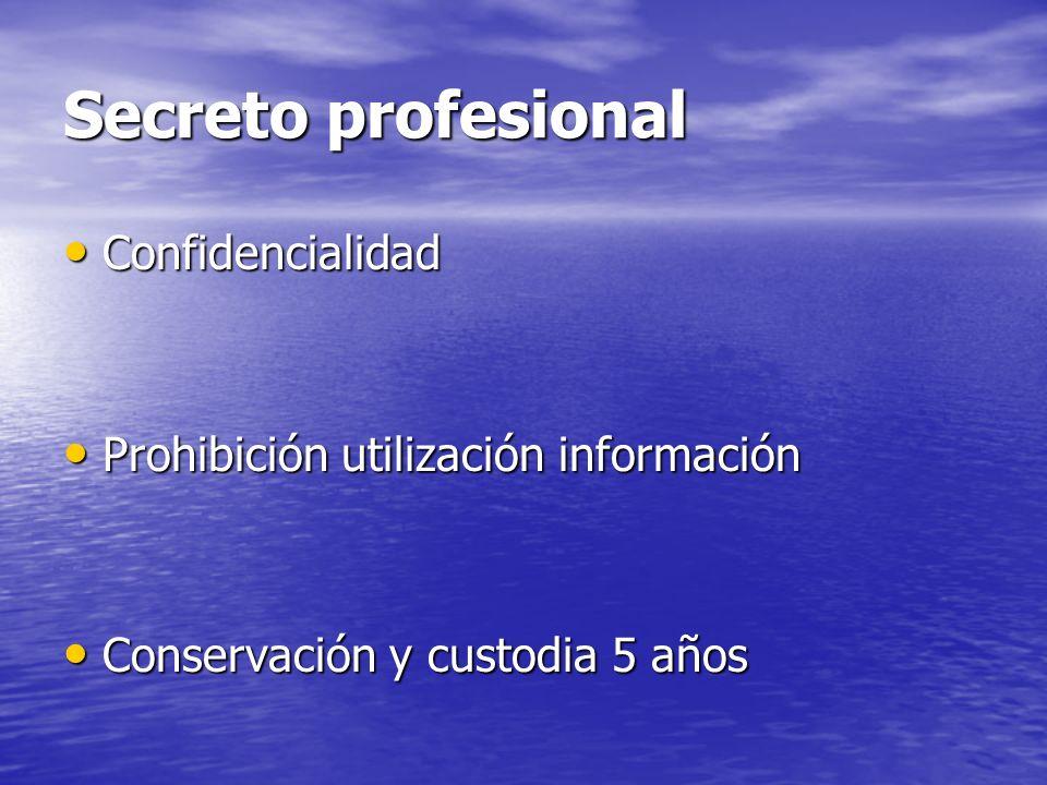 Secreto profesional Confidencialidad