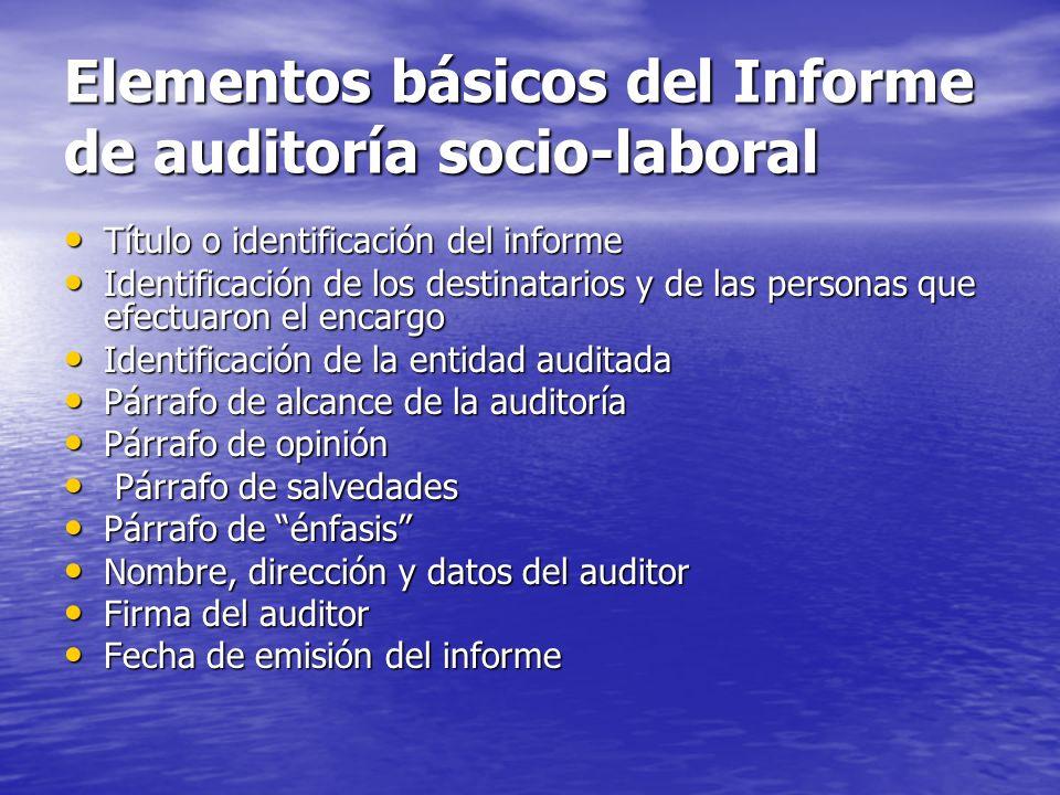 Elementos básicos del Informe de auditoría socio-laboral