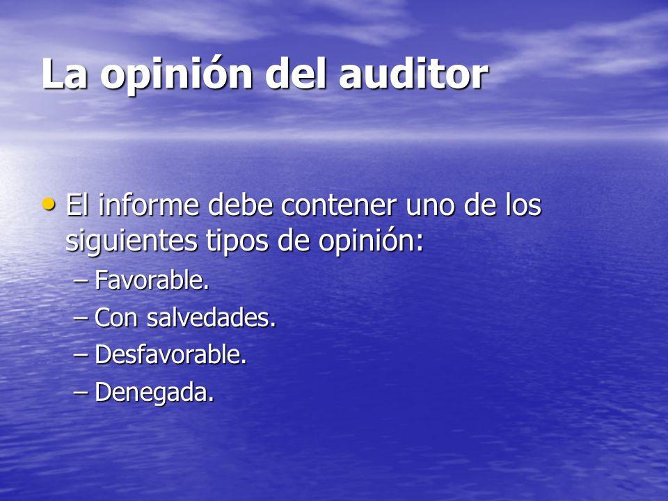 La opinión del auditor El informe debe contener uno de los siguientes tipos de opinión: Favorable.