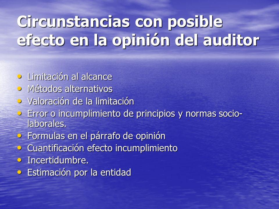 Circunstancias con posible efecto en la opinión del auditor
