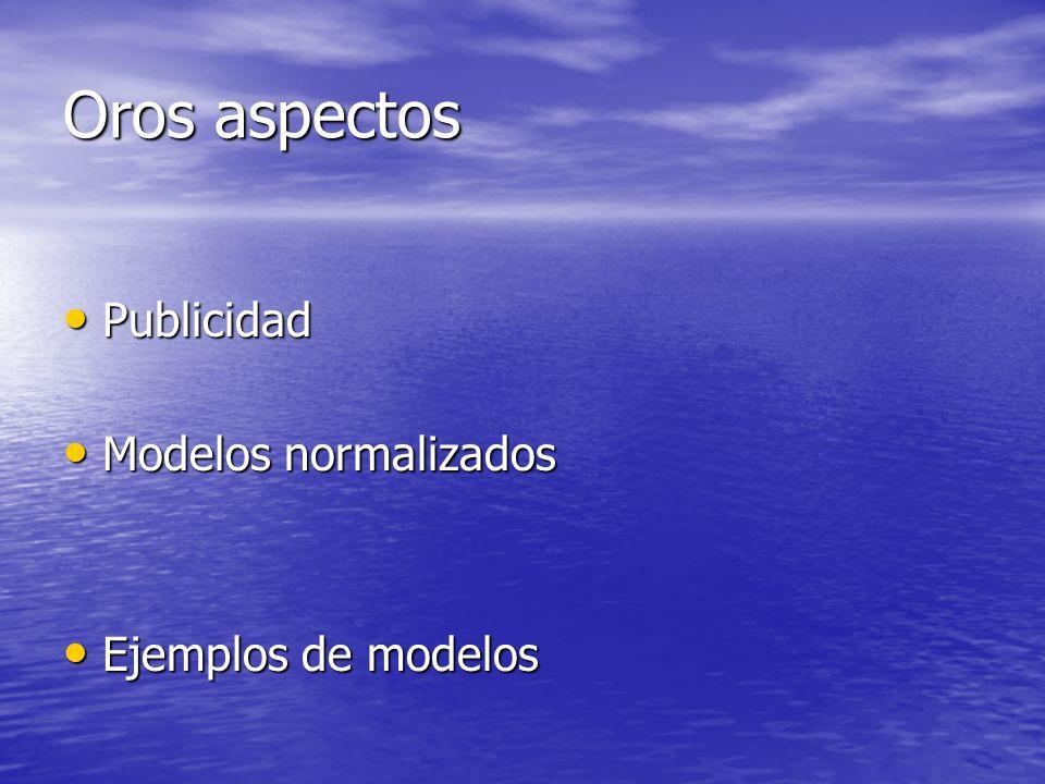 Oros aspectos Publicidad Modelos normalizados Ejemplos de modelos
