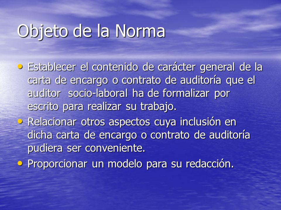Objeto de la Norma