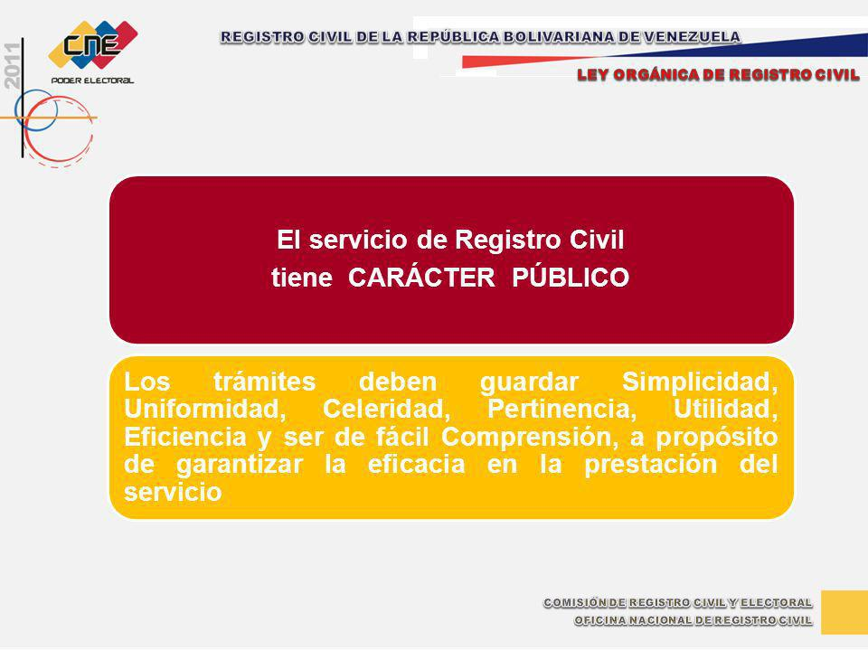 El servicio de Registro Civil tiene CARÁCTER PÚBLICO