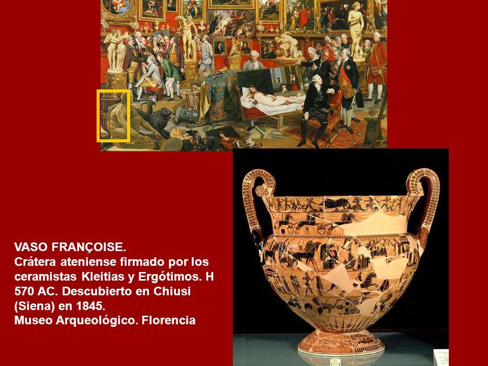VASO FRANÇOISE. Crátera ateniense firmado por los ceramistas Kleitias y Ergótimos. H 570 AC. Descubierto en Chiusi (Siena) en 1845.