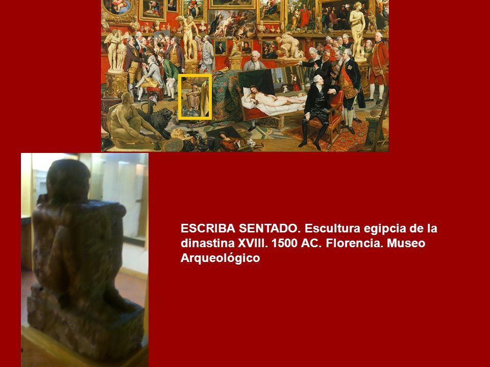 ESCRIBA SENTADO. Escultura egipcia de la dinastina XVIII. 1500 AC
