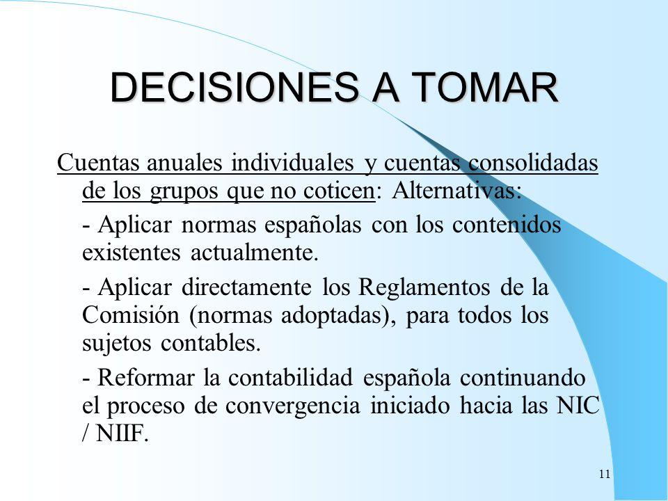 DECISIONES A TOMAR Cuentas anuales individuales y cuentas consolidadas de los grupos que no coticen: Alternativas: