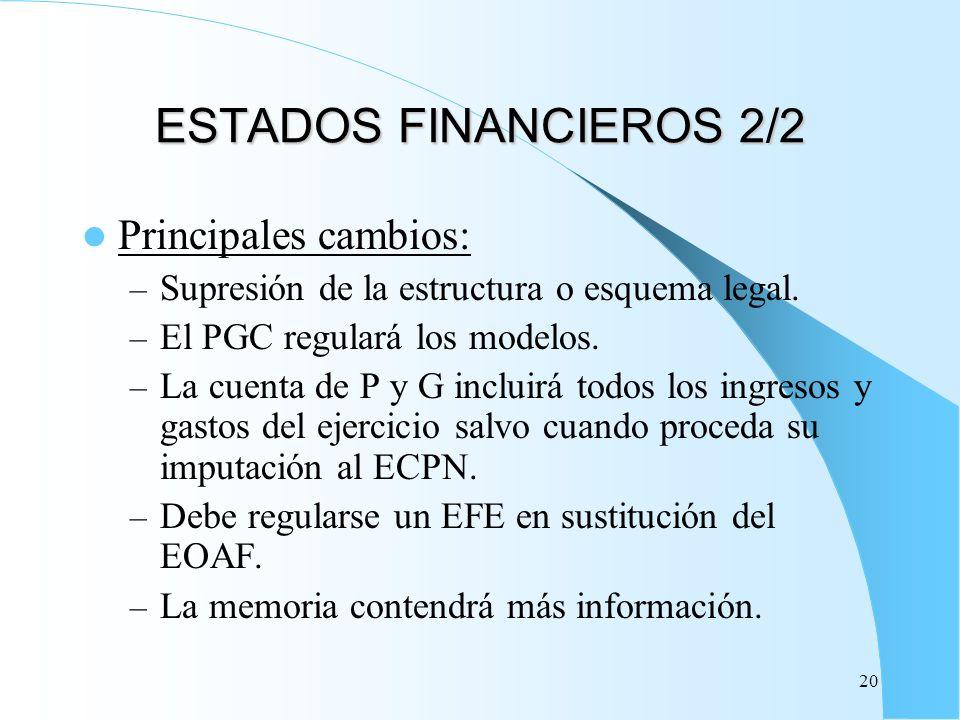 ESTADOS FINANCIEROS 2/2 Principales cambios: