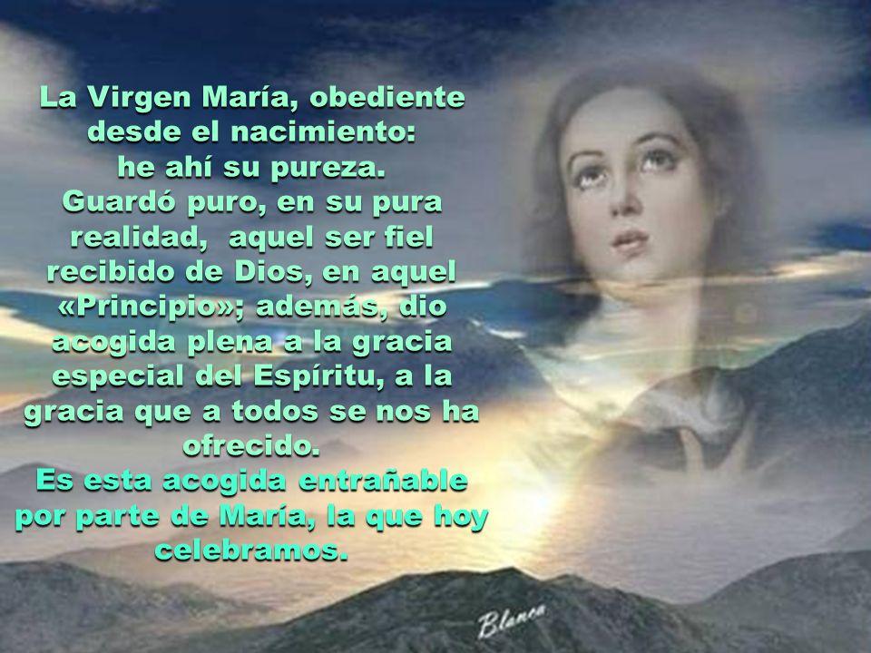 La Virgen María, obediente desde el nacimiento: he ahí su pureza.