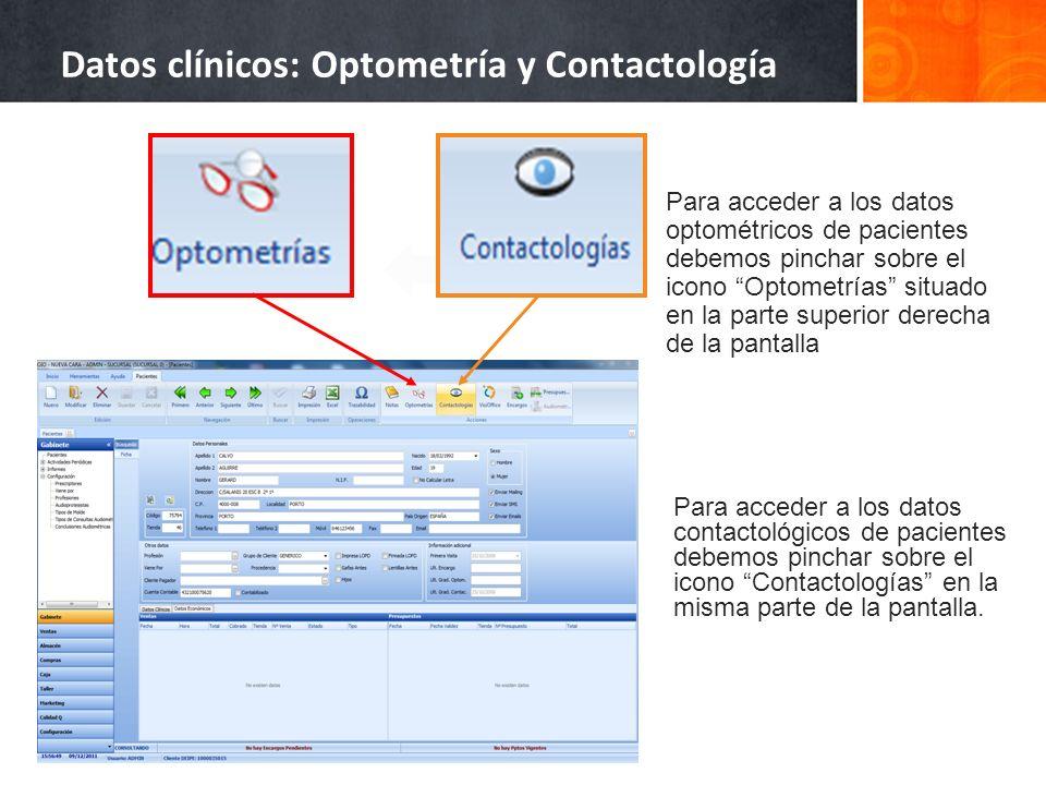Datos clínicos: Optometría y Contactología