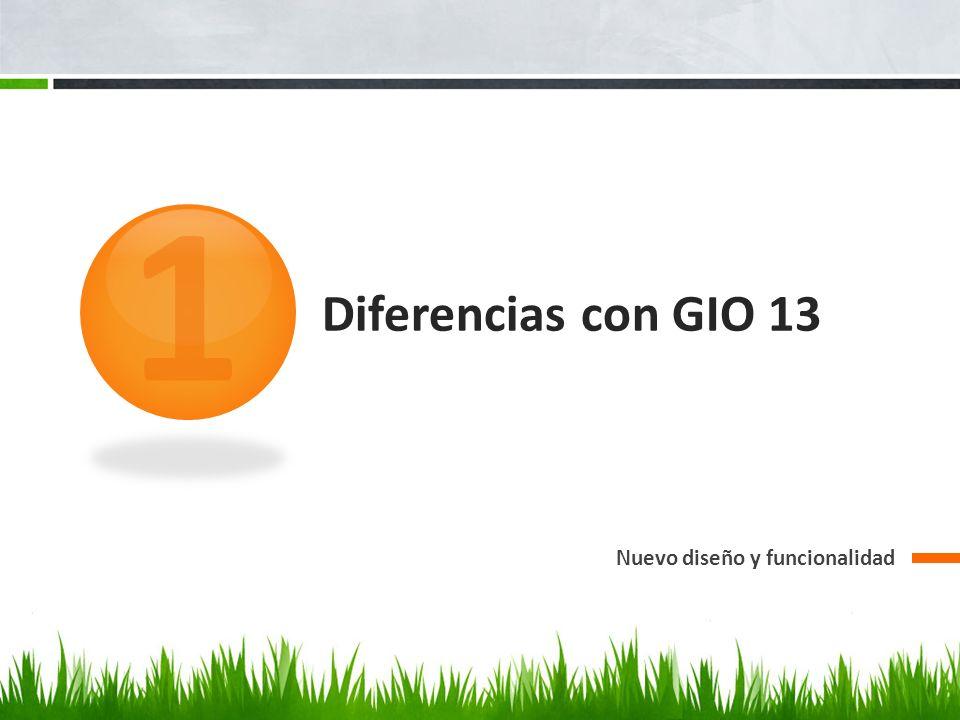 1 Diferencias con GIO 13 Nuevo diseño y funcionalidad