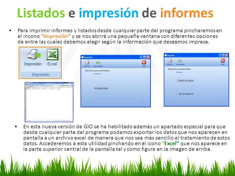 Listados e impresión de informes