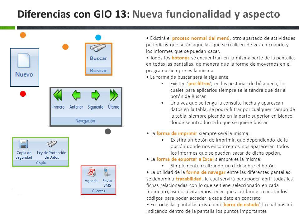 Diferencias con GIO 13: Nueva funcionalidad y aspecto