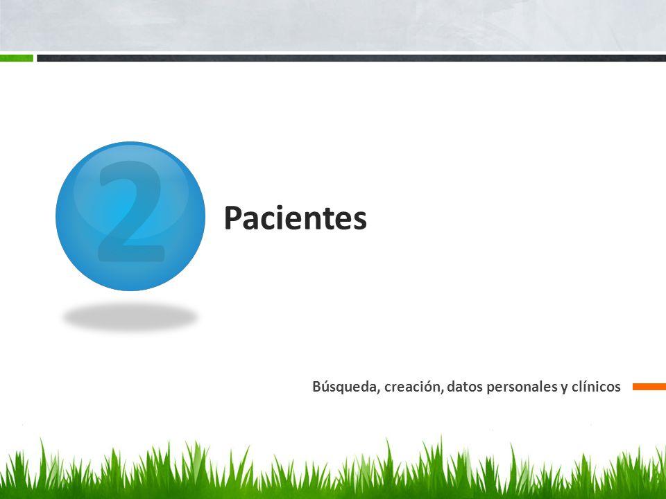 2 Pacientes Búsqueda, creación, datos personales y clínicos