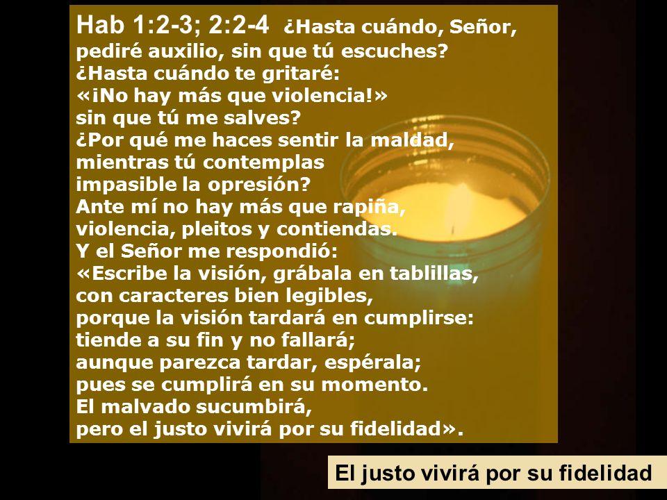 Hab 1:2-3; 2:2-4 ¿Hasta cuándo, Señor, pediré auxilio, sin que tú escuches ¿Hasta cuándo te gritaré: «¡No hay más que violencia!» sin que tú me salves ¿Por qué me haces sentir la maldad, mientras tú contemplas impasible la opresión Ante mí no hay más que rapiña, violencia, pleitos y contiendas. Y el Señor me respondió: «Escribe la visión, grábala en tablillas, con caracteres bien legibles, porque la visión tardará en cumplirse: tiende a su fin y no fallará; aunque parezca tardar, espérala; pues se cumplirá en su momento. El malvado sucumbirá, pero el justo vivirá por su fidelidad».