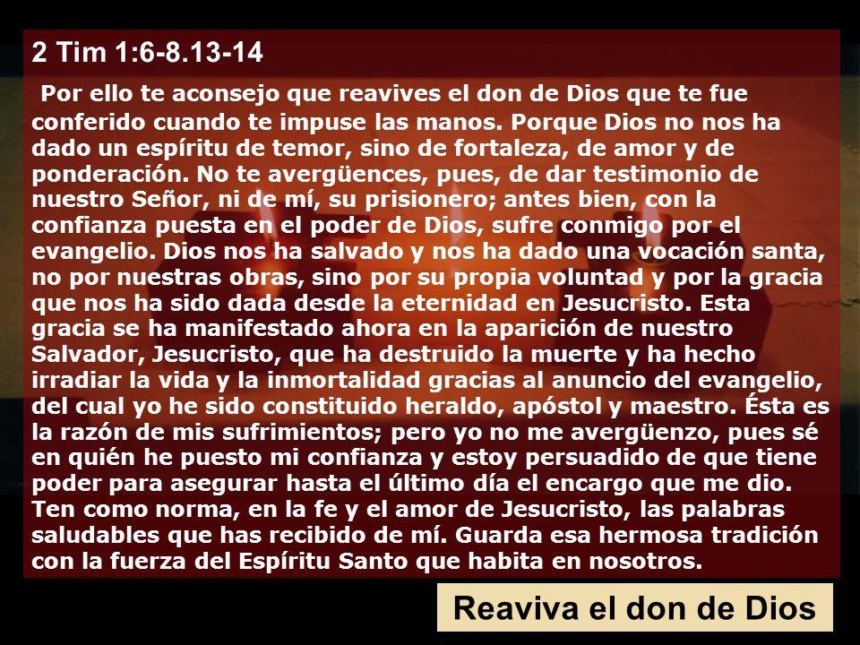 2 Tim 1:6-8.13-14 Por ello te aconsejo que reavives el don de Dios que te fue conferido cuando te impuse las manos. Porque Dios no nos ha dado un espíritu de temor, sino de fortaleza, de amor y de ponderación. No te avergüences, pues, de dar testimonio de nuestro Señor, ni de mí, su prisionero; antes bien, con la confianza puesta en el poder de Dios, sufre conmigo por el evangelio. Dios nos ha salvado y nos ha dado una vocación santa, no por nuestras obras, sino por su propia voluntad y por la gracia que nos ha sido dada desde la eternidad en Jesucristo. Esta gracia se ha manifestado ahora en la aparición de nuestro Salvador, Jesucristo, que ha destruido la muerte y ha hecho irradiar la vida y la inmortalidad gracias al anuncio del evangelio, del cual yo he sido constituido heraldo, apóstol y maestro. Ésta es la razón de mis sufrimientos; pero yo no me avergüenzo, pues sé en quién he puesto mi confianza y estoy persuadido de que tiene poder para asegurar hasta el último día el encargo que me dio.
