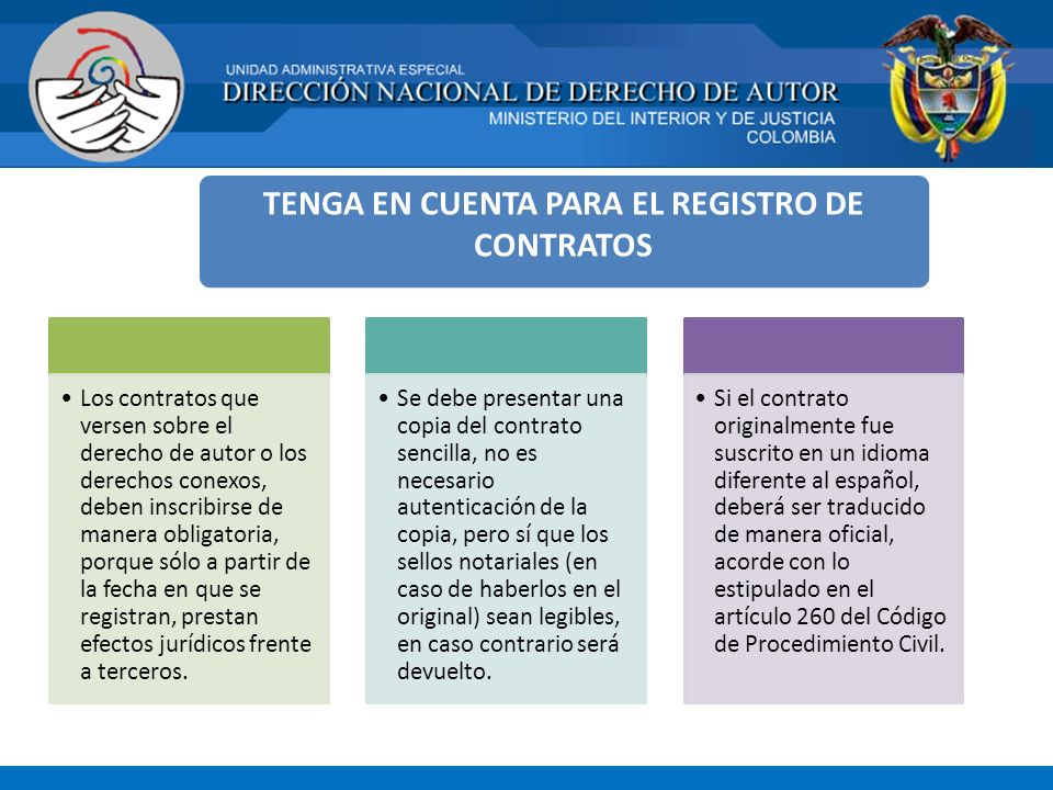 TENGA EN CUENTA PARA EL REGISTRO DE CONTRATOS