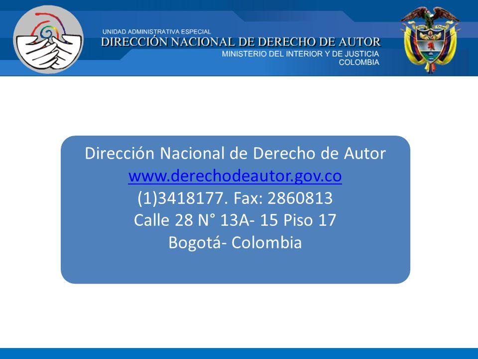 Dirección Nacional de Derecho de Autor www. derechodeautor. gov