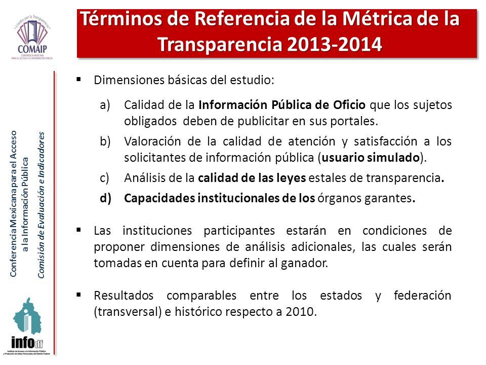 Términos de Referencia de la Métrica de la Transparencia 2013-2014