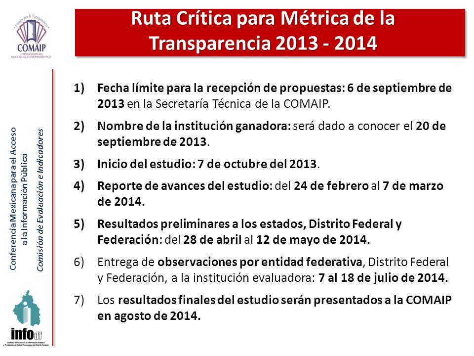 Ruta Crítica para Métrica de la Transparencia 2013 - 2014
