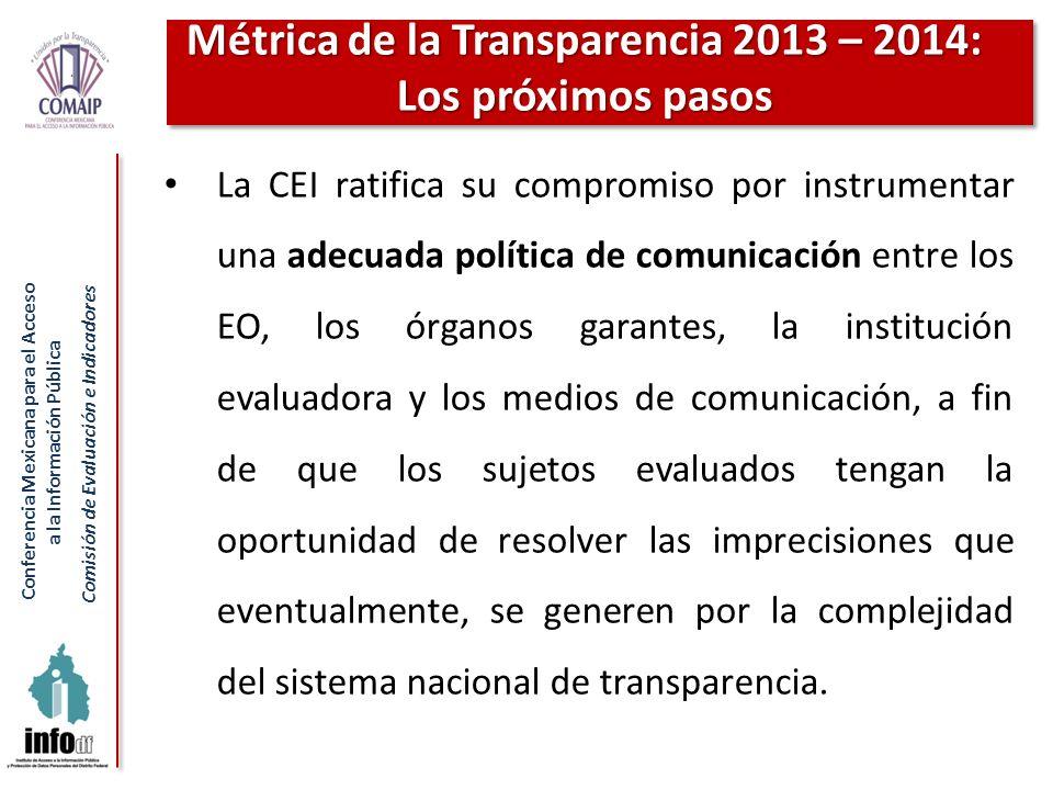 Métrica de la Transparencia 2013 – 2014: Los próximos pasos
