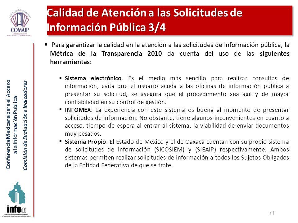 Calidad de Atención a las Solicitudes de Información Pública 3/4